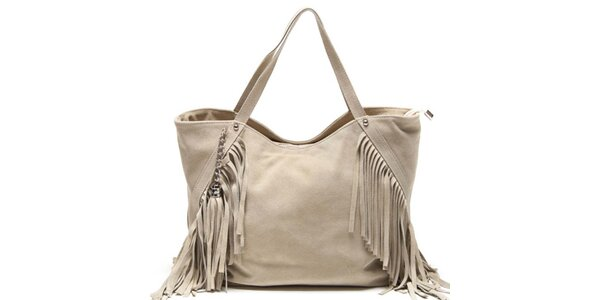 Dámská béžová kabelka s třásněmi Luisa Vannini