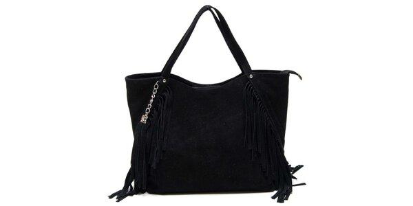 Dámská černá kabelka s třásněmi Luisa Vannini