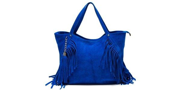 Dámská modrá kabelka s třásněmi Luisa Vannini