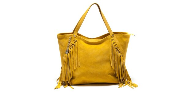 Dámská žlutá kabelka s třásněmi Luisa Vannini