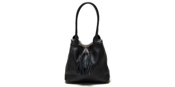 Dámská černá kožená taška s třásněmi Luisa Vannini
