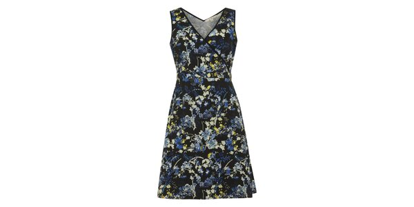Dámské černé šaty s barevnými květinami Uttam Boutique