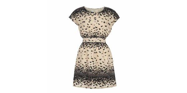 Dámské světle béžové šaty s motýlky Uttam Boutique