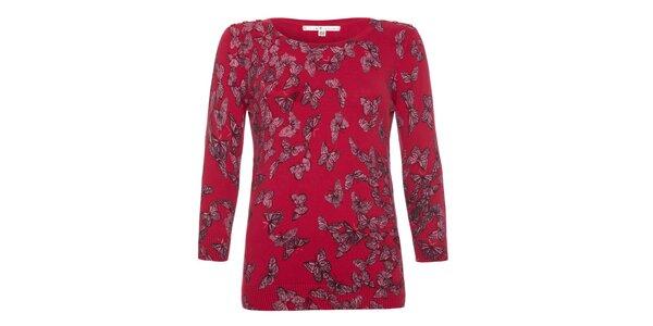 Dámský malinový svetr s motýlky Uttam Boutique