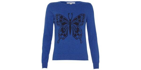 Dámský sytě modrý svetřík s motýlkem Uttam Boutique