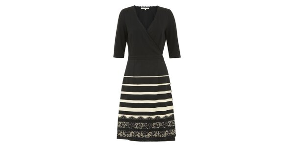 Dámské černé zavinovací šaty s pruhovanou sukní Uttam Boutique