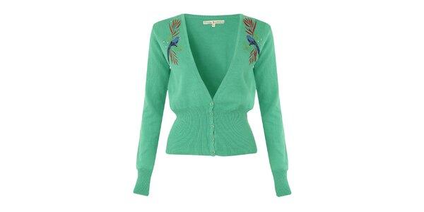 Dámský zelený svetřík s modrými ptáčky Uttam Boutique