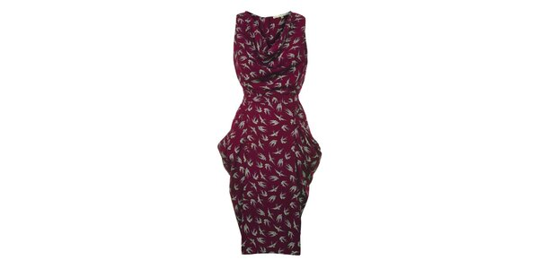 Dámské vínové šaty s ptáčky Uttam Boutique