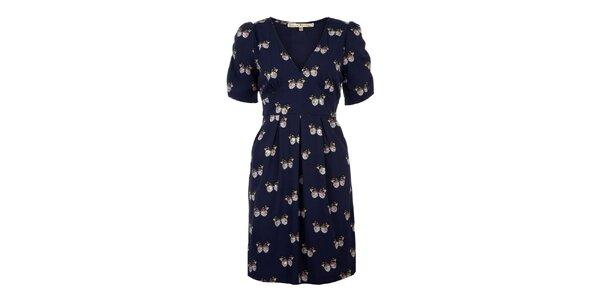 Dámské tmavě modré šaty s motýlky Uttam Boutique