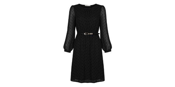 Dámské černé šaty s puntíky Uttam Boutique