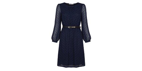 Dámské tmavě modré šaty s puntíky Uttam Boutique