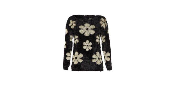 Dámský černý svetr s kytičkami Iska