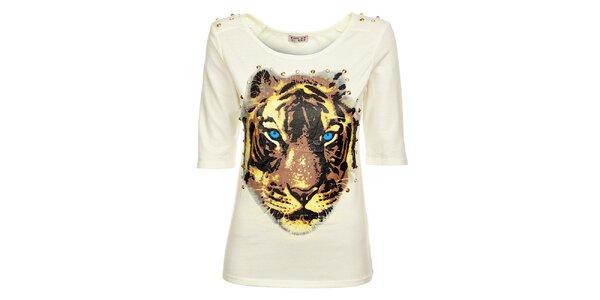 Dámské bílé tričko Love Red s potiskem a zlatými cvoky
