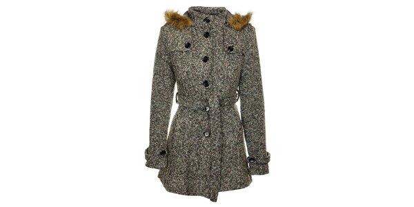 Dámský šedý melírovaný zimní kabát Love Red s kožíškem