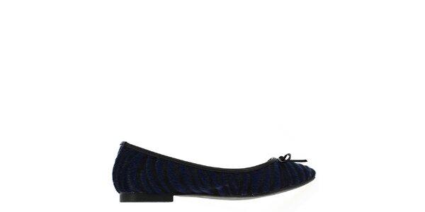 Dámské chlupaté černo-modré balerínky Shoes and the City