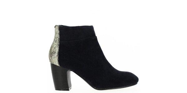 Dámské tmavomodré kotníkové boty se třpytivou patou Shoes and the City