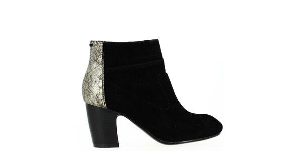 Dámské černé kotníkové boty se třpytivou patou Shoes and the City