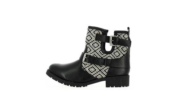 Dámské černo-bíle vzorované boty Shoes and the City