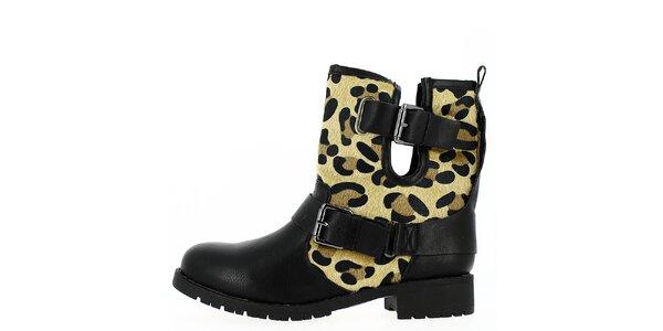 Dámské černé boty s přezkami a zvířecím vzorem Shoes and the City