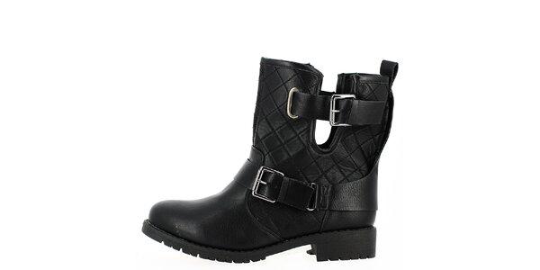 Dámské černé prošívané boty s přezkami Shoes and the City