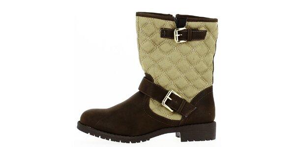 Dámské hnědo-béžové prošívané boty na zip Shoes and the City