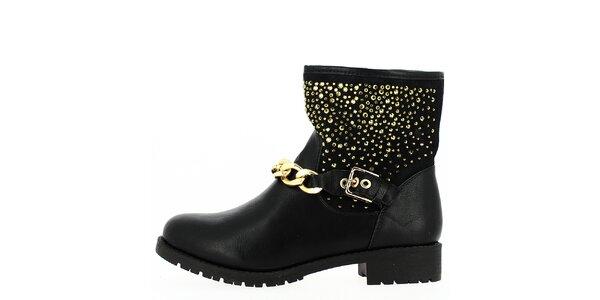 Dámské kotníkové černé boty se zlatými prvky a řetízkem Shoes and the City
