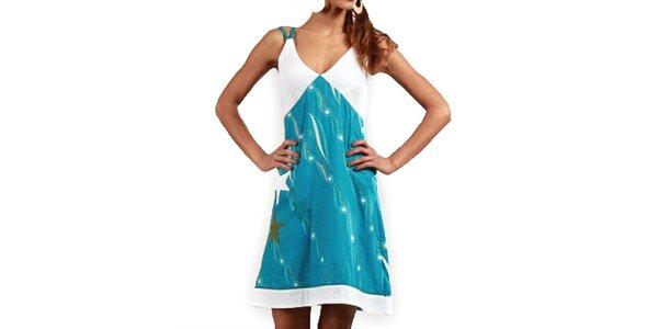 Dámské tyrkysovo-bílé šaty Aller Simplement