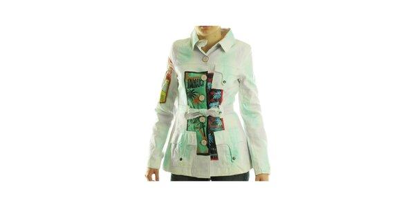 Dámský bílý kabátek Custo Barcelona s barevným potiskem