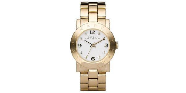 Dámské pozlacené ocelové hodinky se světlým ciferníkem Marc Jacobs