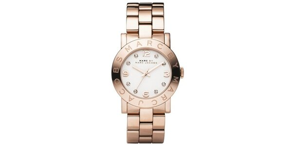Dámské hodinky v barvě růžového zlata s bílým ciferníkem Marc Jacobs