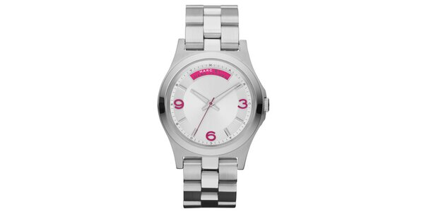 Dámské stříbrné hodinky s fuchsiovými prvky Marc Jacobs