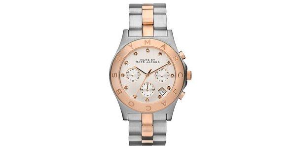 Dámské dvoubarevné ocelové hodinky s chronografem Marc Jacobs