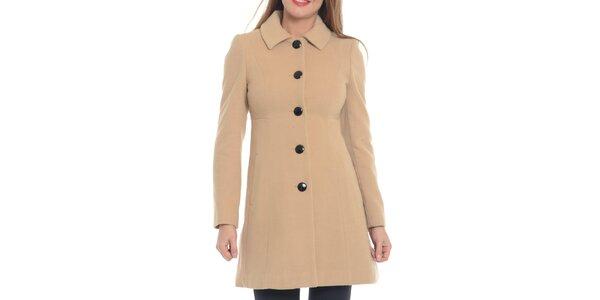 Dámský kabát s knoflíky v pískovém odstínu Vera Ravenna