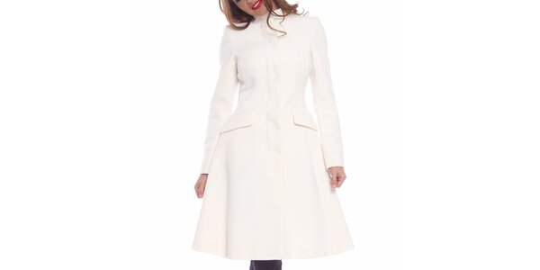 Dámský sněhobílý projmutý kabát Vera Ravenna