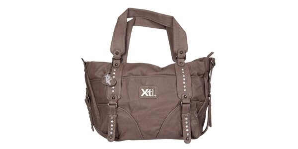 Dámská hnědá kabelka Xti s kovovými cvoky