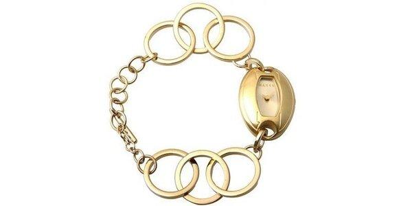 Dámske hodinky Mango se zlatým ciferníkem i řemínkem z ocele