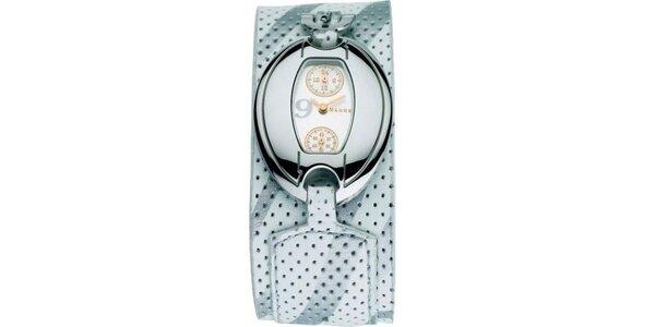 Dámske hodinky Mango s bílým 24hodinovým ciferníkem a bílým koženým řemínkem