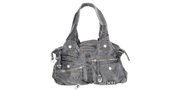 Dámská šedá denimová kabelka Xti s kapsami