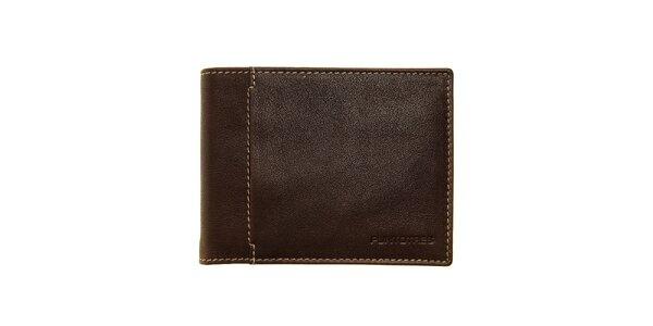 Pánská tmavě hnědá kožená peněženka Puntotres