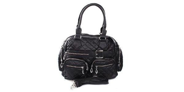 Dámská černá prošívaná kabelka London Fashion
