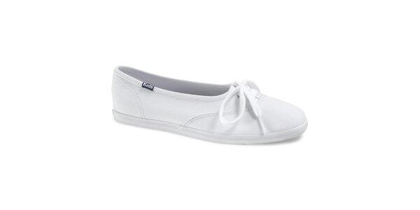 Dámské bílé plátěné tenisky Keds s mašličkou