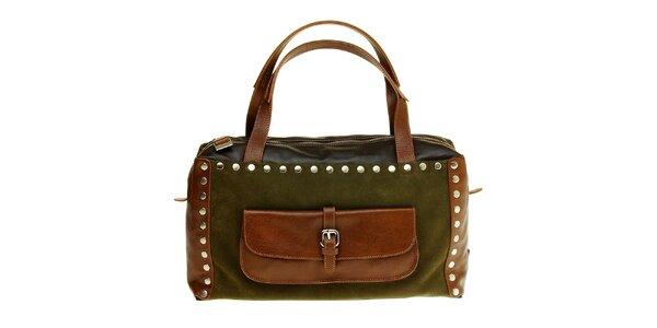 Dámská zeleno-hnědá kabelka Puntotres kovovými cvoky