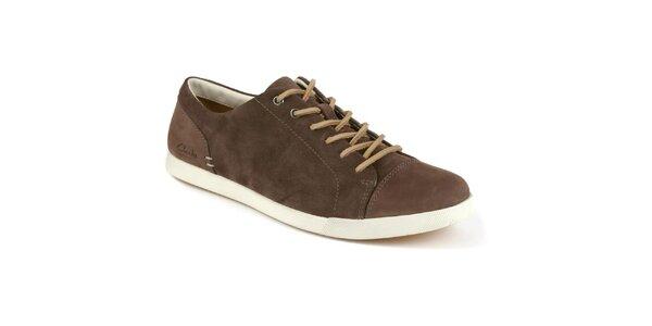 Pánské hnědé šněrovací boty s koženou tkaničkou Clarks