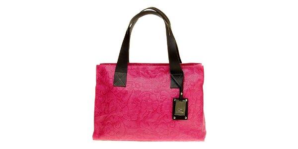 Dámská růžová kabelka Puntotres s plastickým vzorem