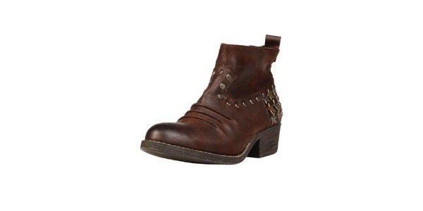 Dámské hnědé kotníkové boty s hvězdičkami Ana Lublin