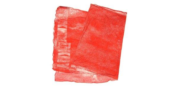 Lehounký šál DKNY v červeno-bílé barvě