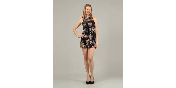 Dámské černé mini šaty Jubylee s květinovým potiskem