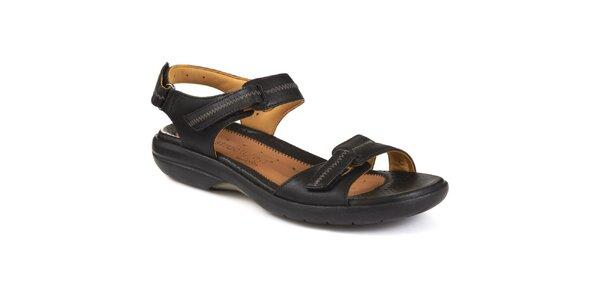 Dámské černé kožené sandálky s kontrastním prošíváním Clarks