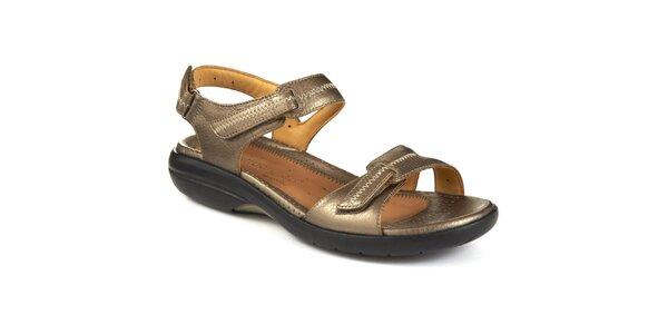 Dámské metalické kožené sandálky s prošíváním Clarks