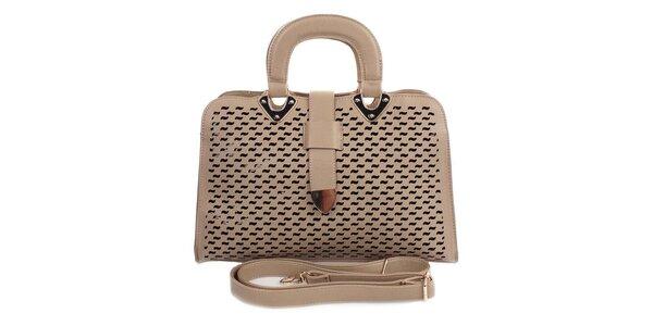 Dámská světlá kabelka s ozdobným perforováním London Fashion